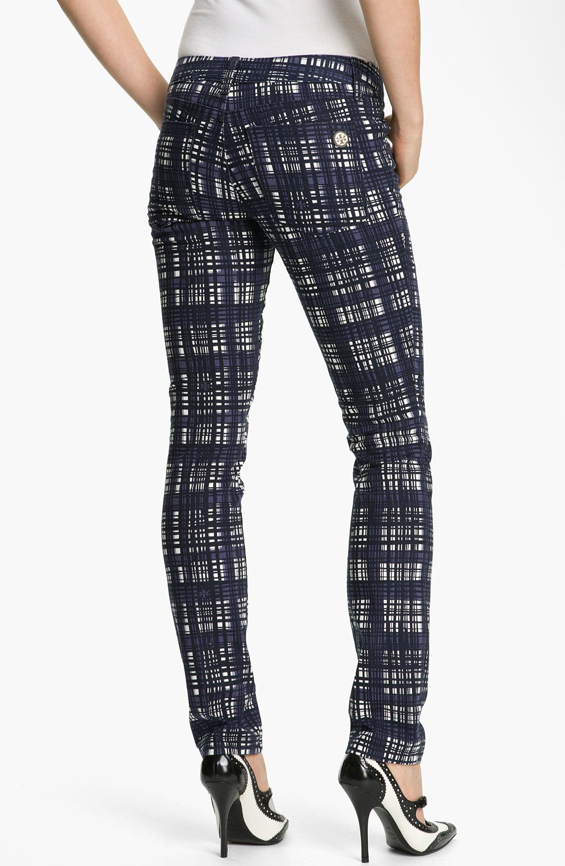 Alternate Image 2  - Tory Burch 'Connor' Plaid Skinny Stretch Jeans