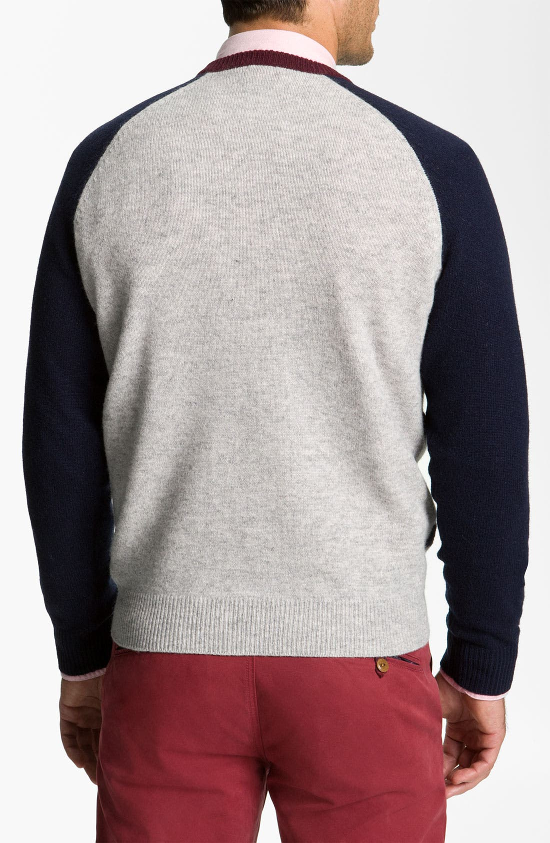 Alternate Image 2  - Brooks Brothers Stripe V-Neck Sweater