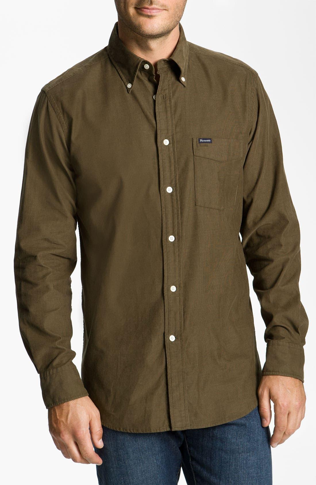 Façonnable Club Fit Corduroy Sport Shirt,                         Main,                         color, Dark Olive