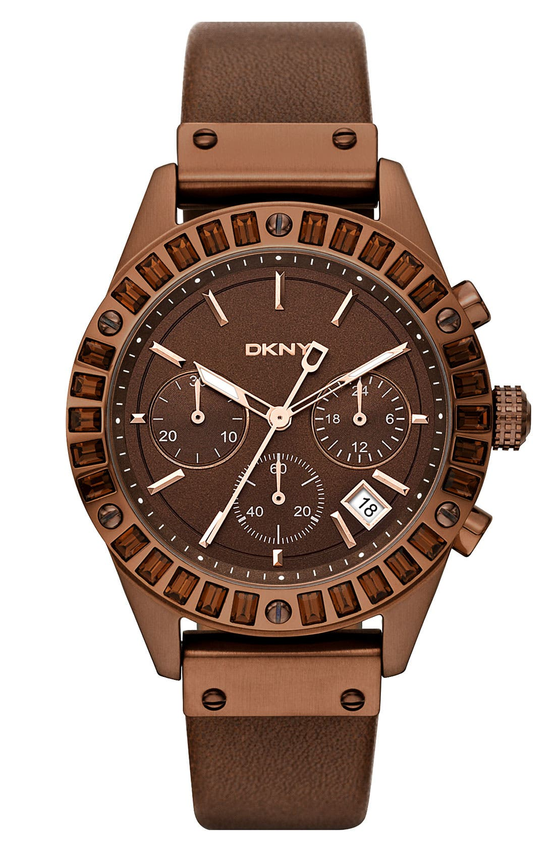 Main Image - DKNY Crystal Chronograph Leather Strap Watch