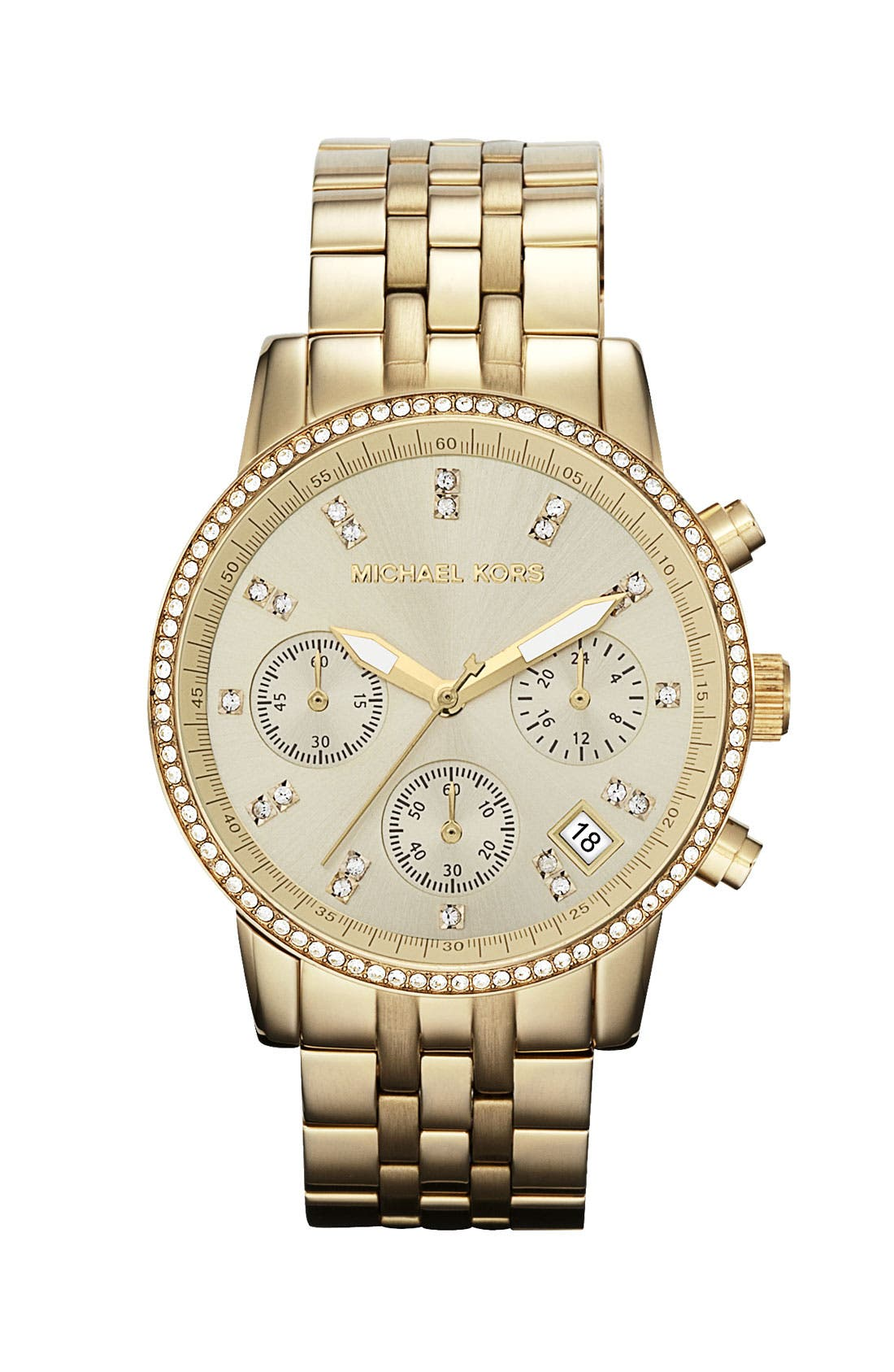 Michael Kors 'Ritz' Crystal Index Bracelet Watch,                             Main thumbnail 1, color,                             Gold