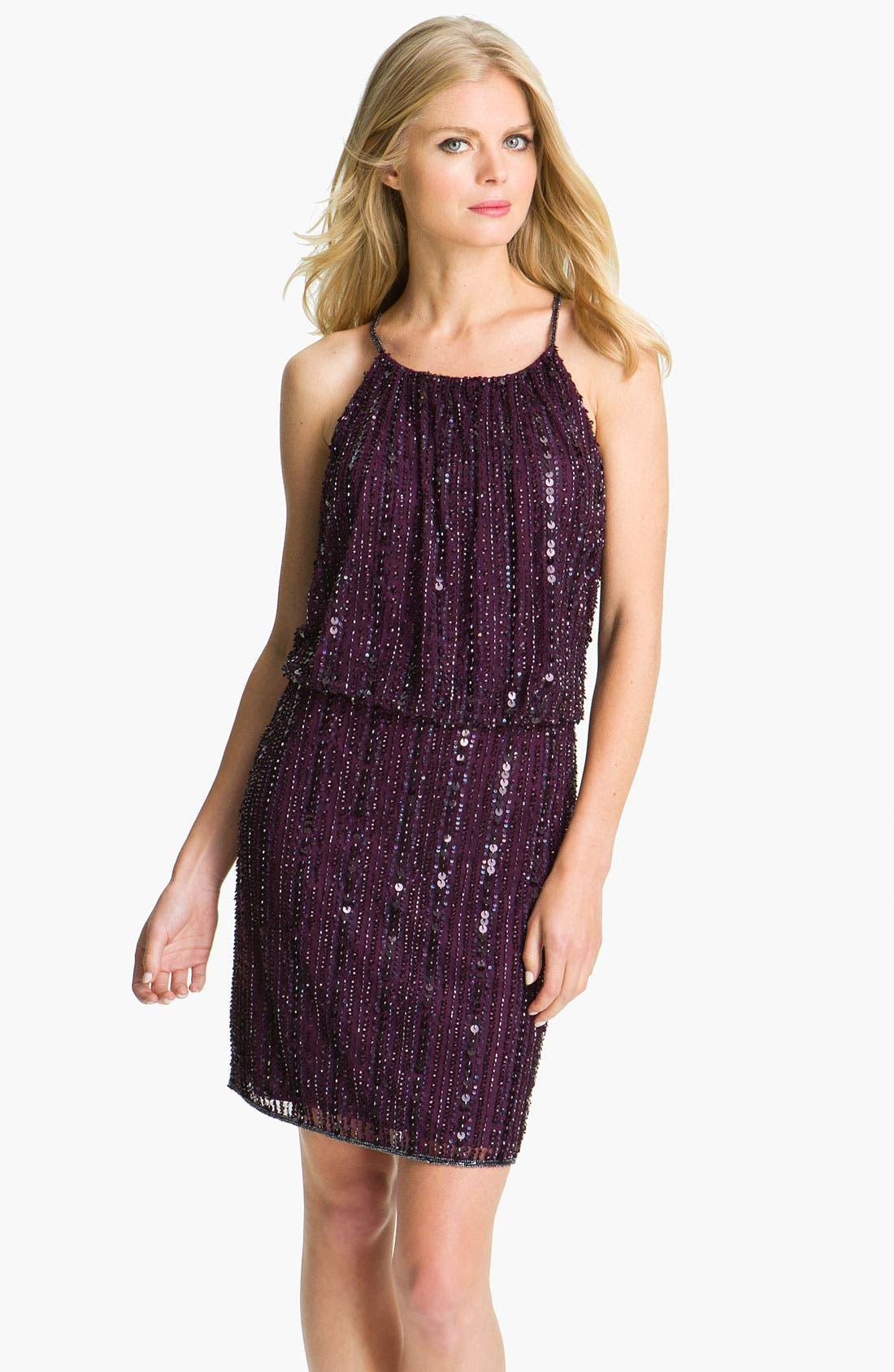 Main Image - Pisarro Nights Sequin & Bead Blouson Dress