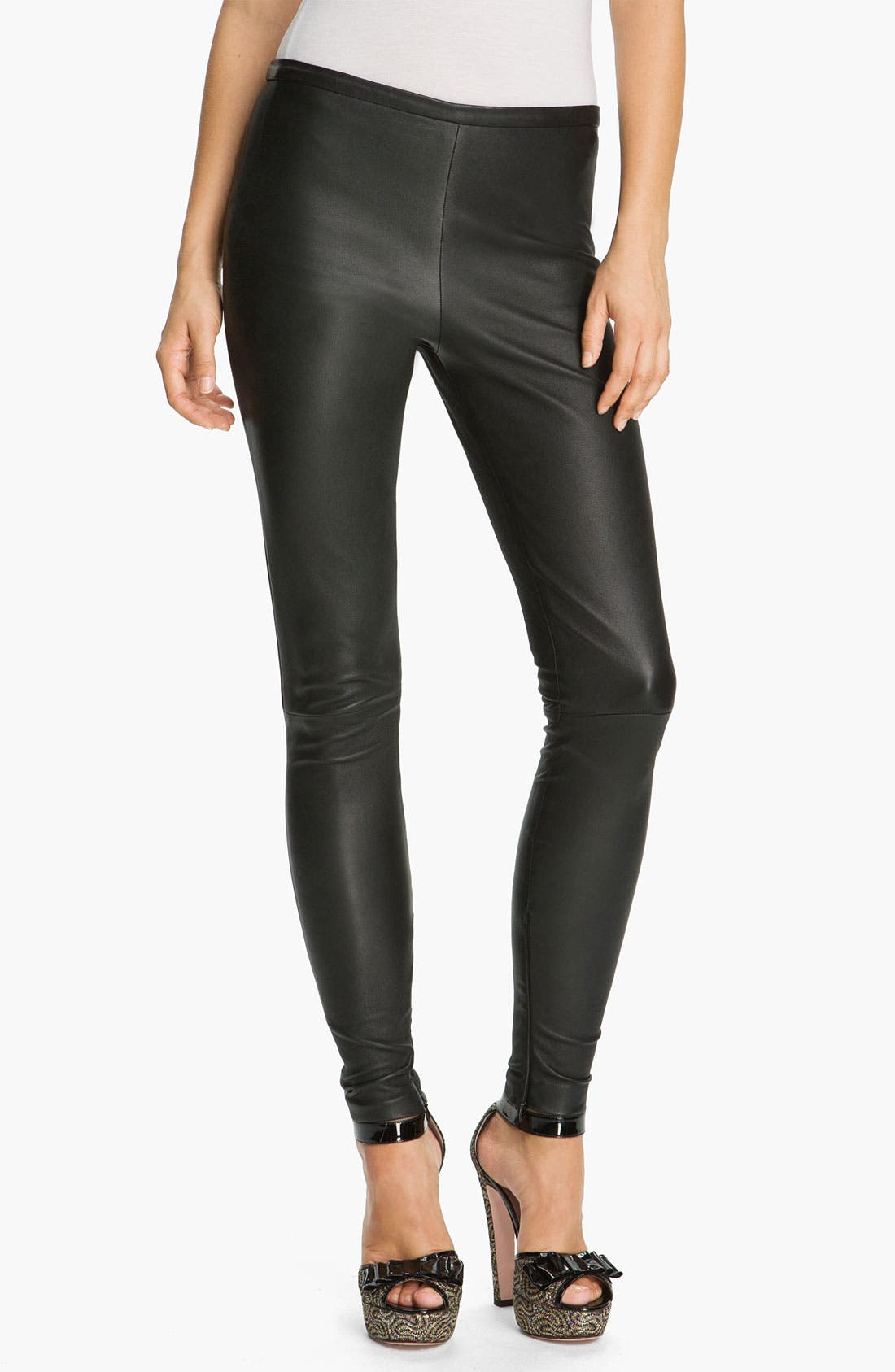 Main Image - RED Valentino Stretch Leather Leggings