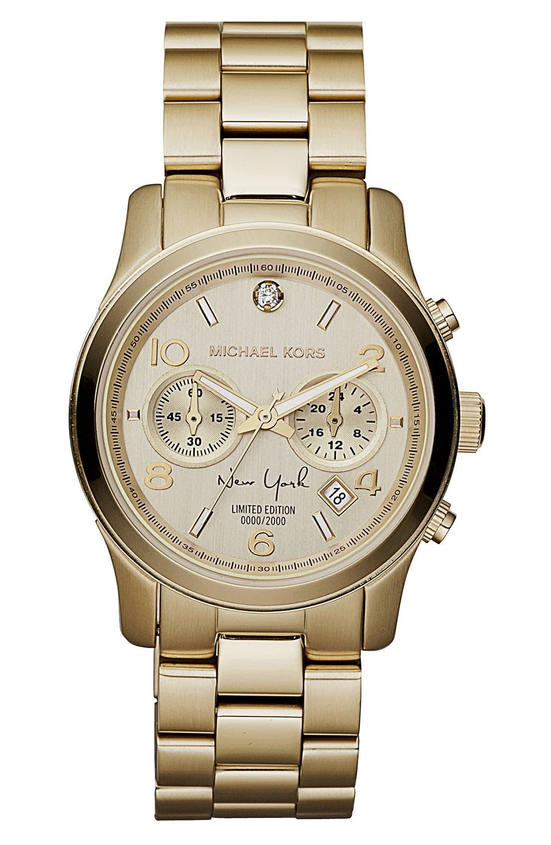 Main Image - Michael Kors 'Runway - New York' Chronograph Bracelet Watch, 38mm (Limited Edition)
