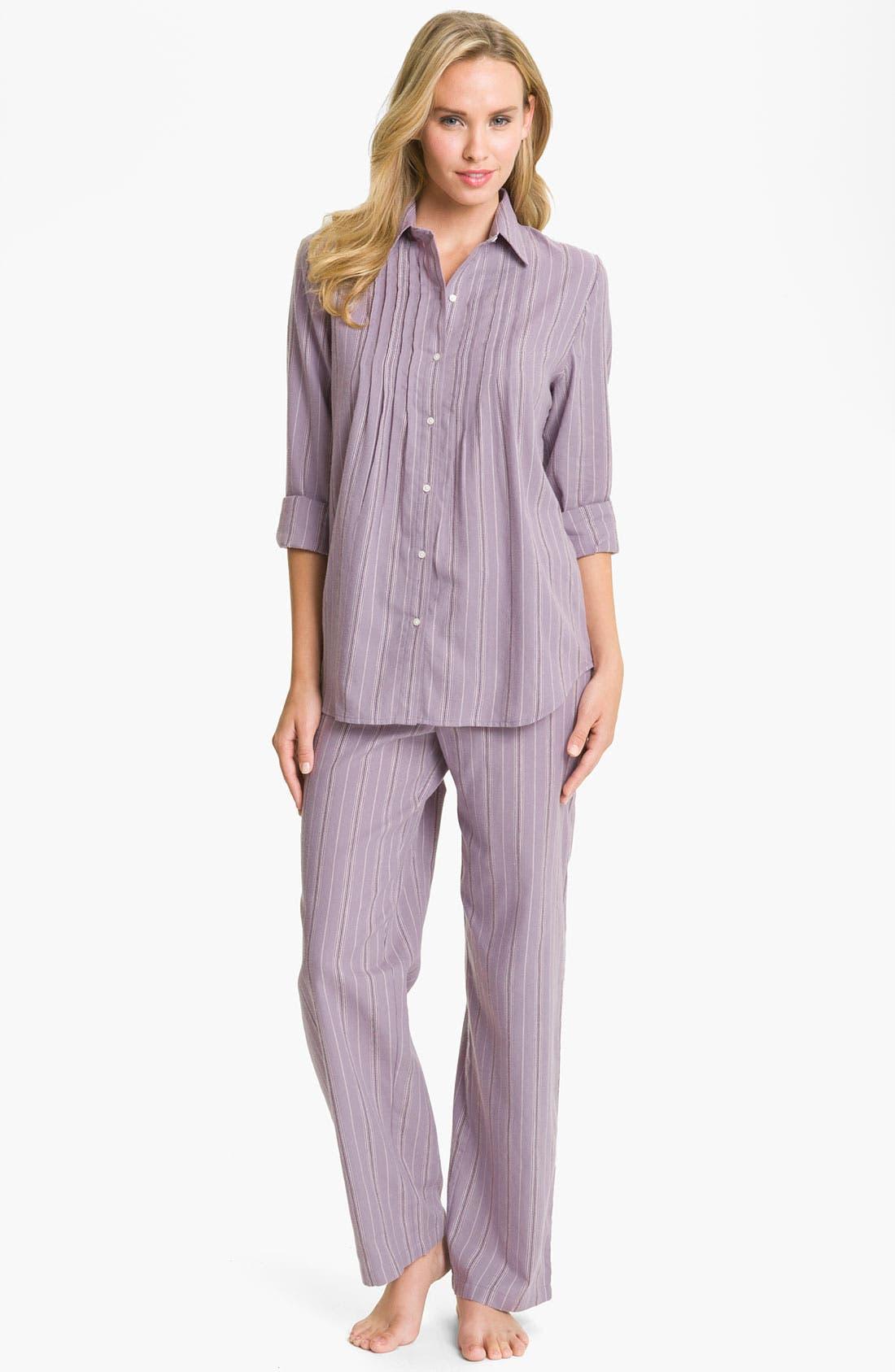 Main Image - Lauren Ralph Lauren Sleepwear Brushed Twill Pajamas