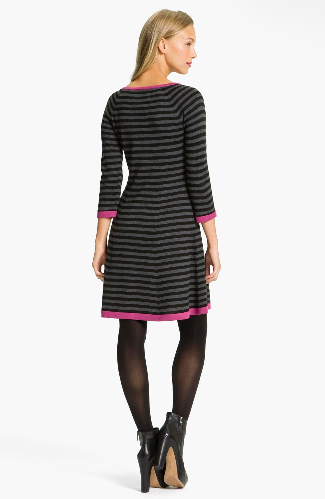 Alternate Image 2  - Eliza J Stripe Contrast Trim Sweater Dress