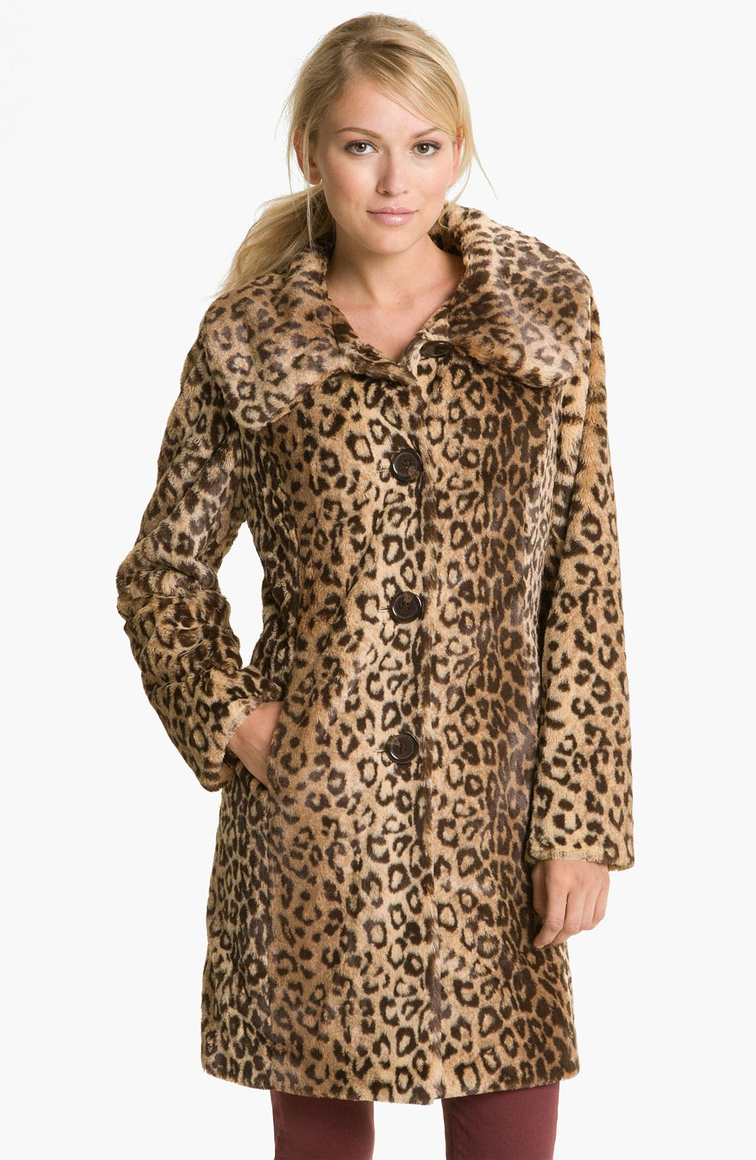 Main Image - Weatherproof® Faux Leopard Fur Walking Coat (Online Exclusive)