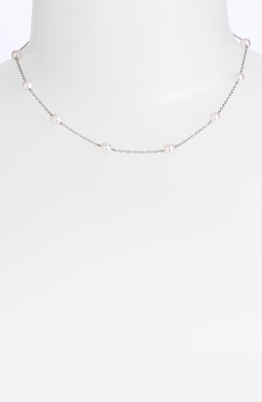 Main Image - Mikimoto Akoya Cultured Pearl & Chain Necklace