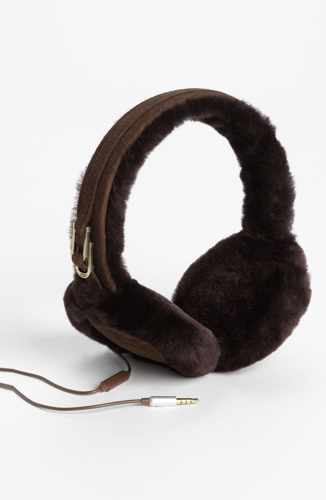 Australia Leather & Shearling Tech Earmuffs,                             Main thumbnail 1, color,                             Chocolate