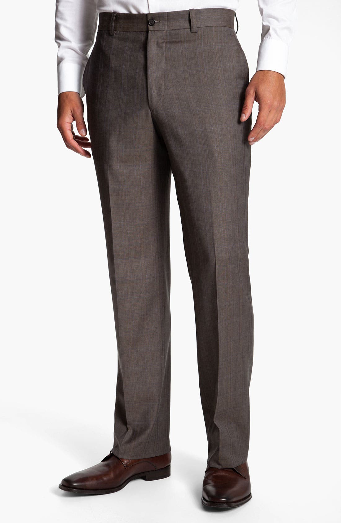 Alternate Image 1 Selected - Linea Naturale 'Bensol' Plaid Wool Trousers
