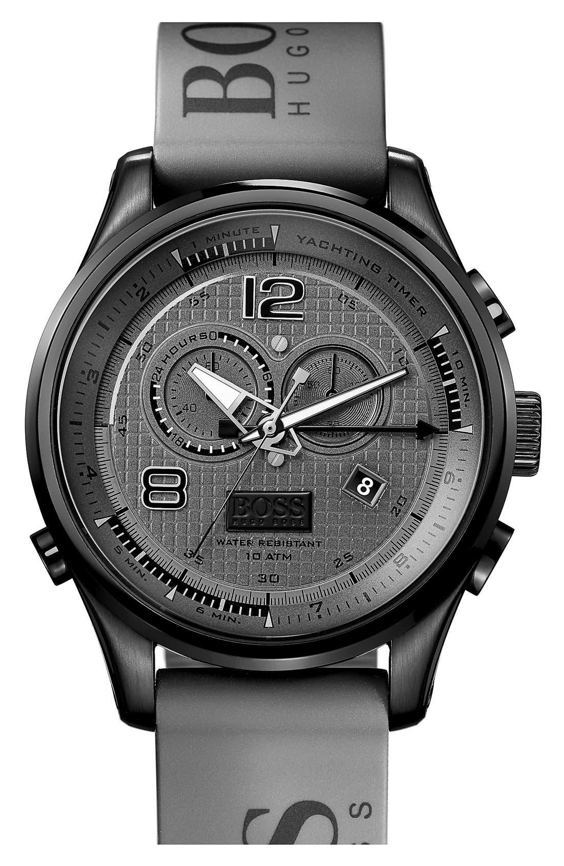Main Image - BOSS HUGO BOSS 'Iconic Regatta' Chronograph Silicone Strap Watch, 46mm