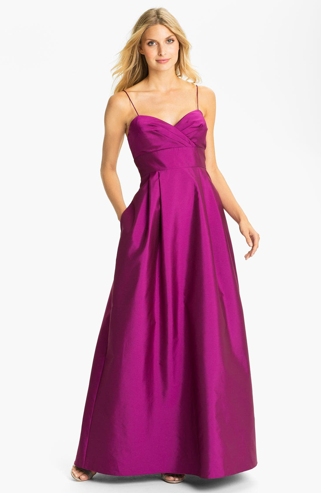 Main Image - Eliza J Spaghetti Strap Faille A-Line Gown