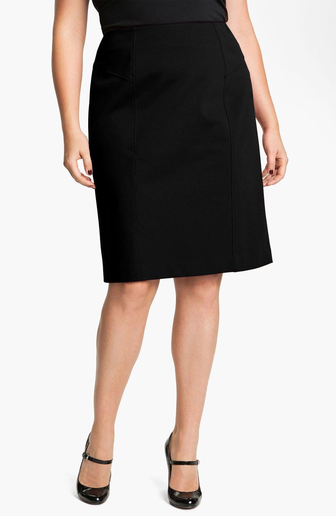 Alternate Image 1 Selected - Sejour Seamed Ponte Knit Skirt (Plus)