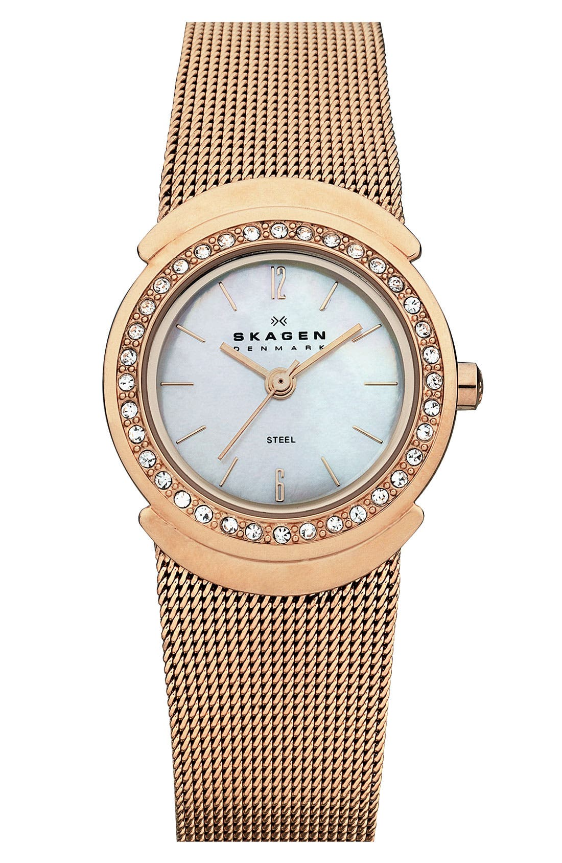 Alternate Image 1 Selected - Skagen Round Mesh Strap Watch, 26mm