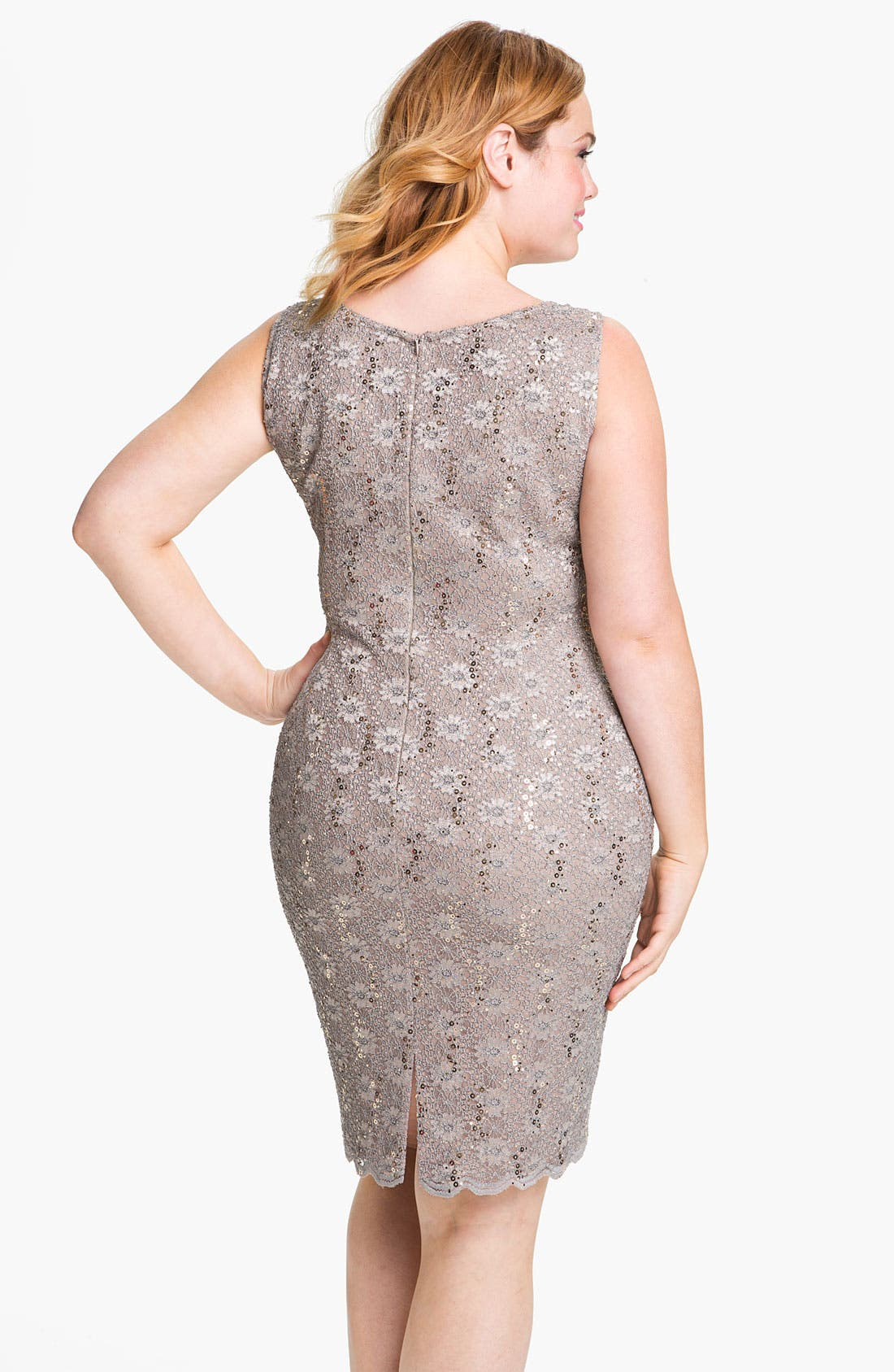 Alternate Image 2  - Alex Evenings Sequined Lace Sleeveless Dress & Bolero (Plus Size)