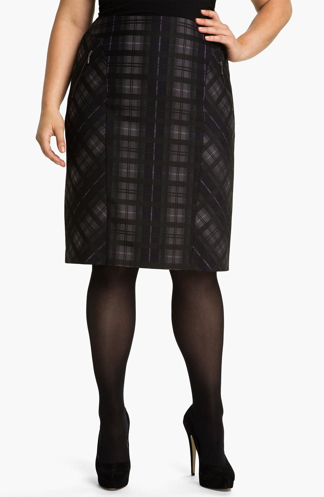 Alternate Image 1 Selected - Sejour Plaid Pencil Skirt (Plus)