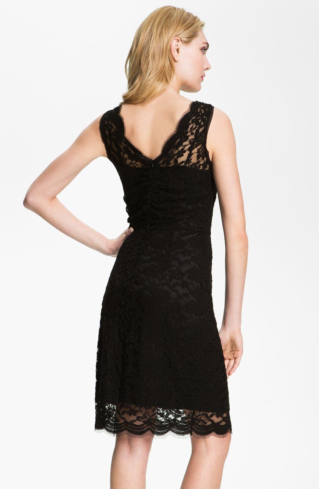 Alternate Image 2  - Calvin Klein V-Neck Lace Sheath Dress