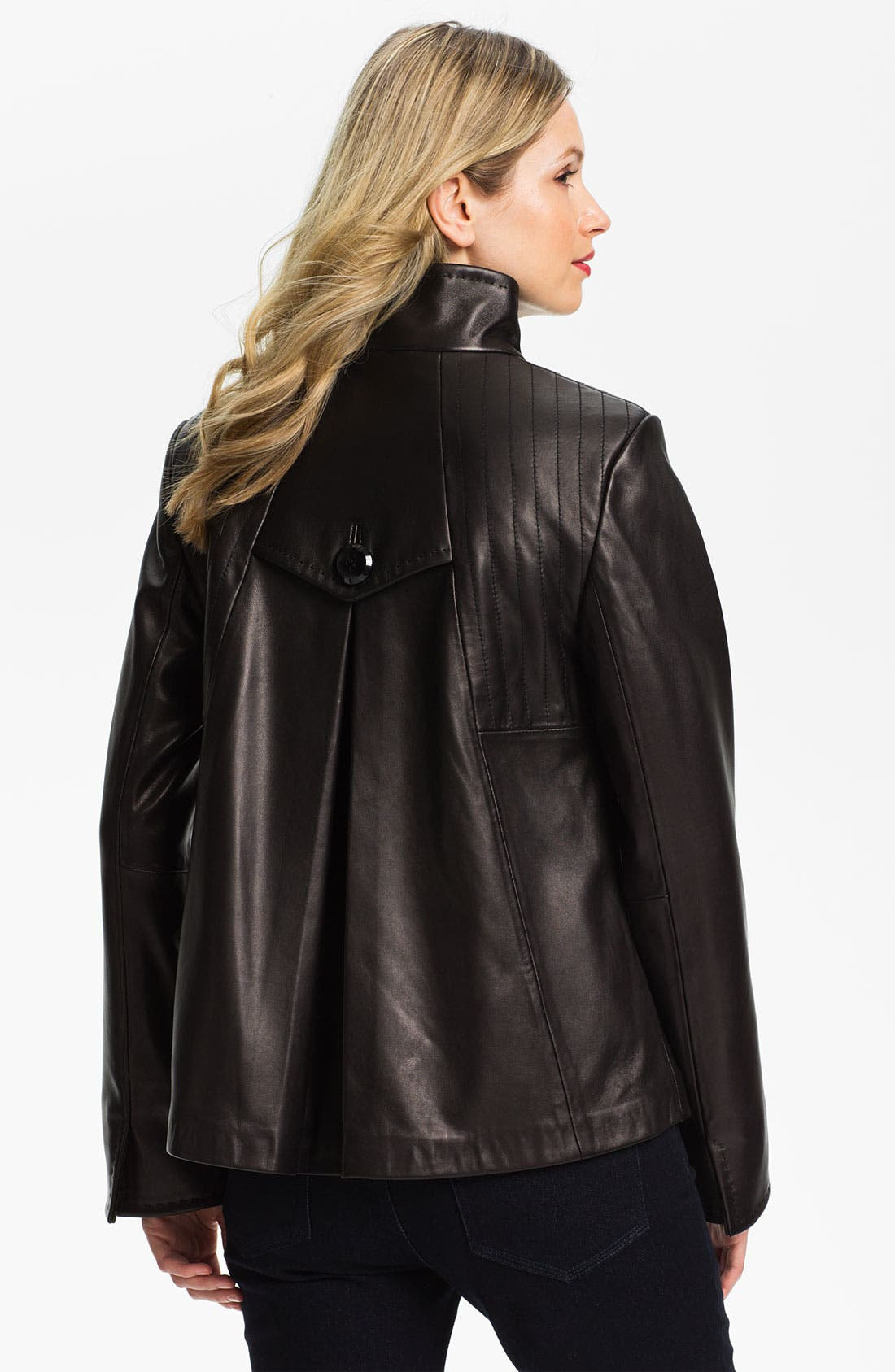 Alternate Image 2  - Ellen Tracy Button Up Leather Jacket (Nordstrom Exclusive)