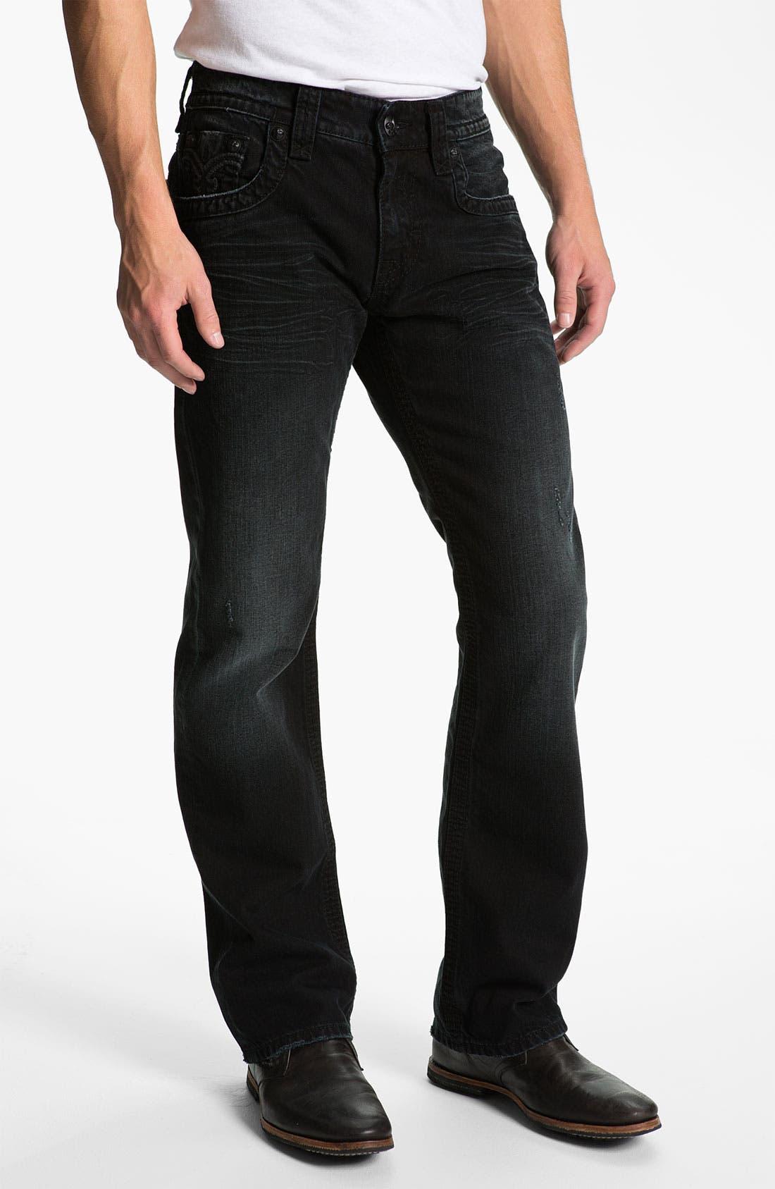 Alternate Image 2  - Rock Revival 'Bob' Straight Leg Jeans (Black)