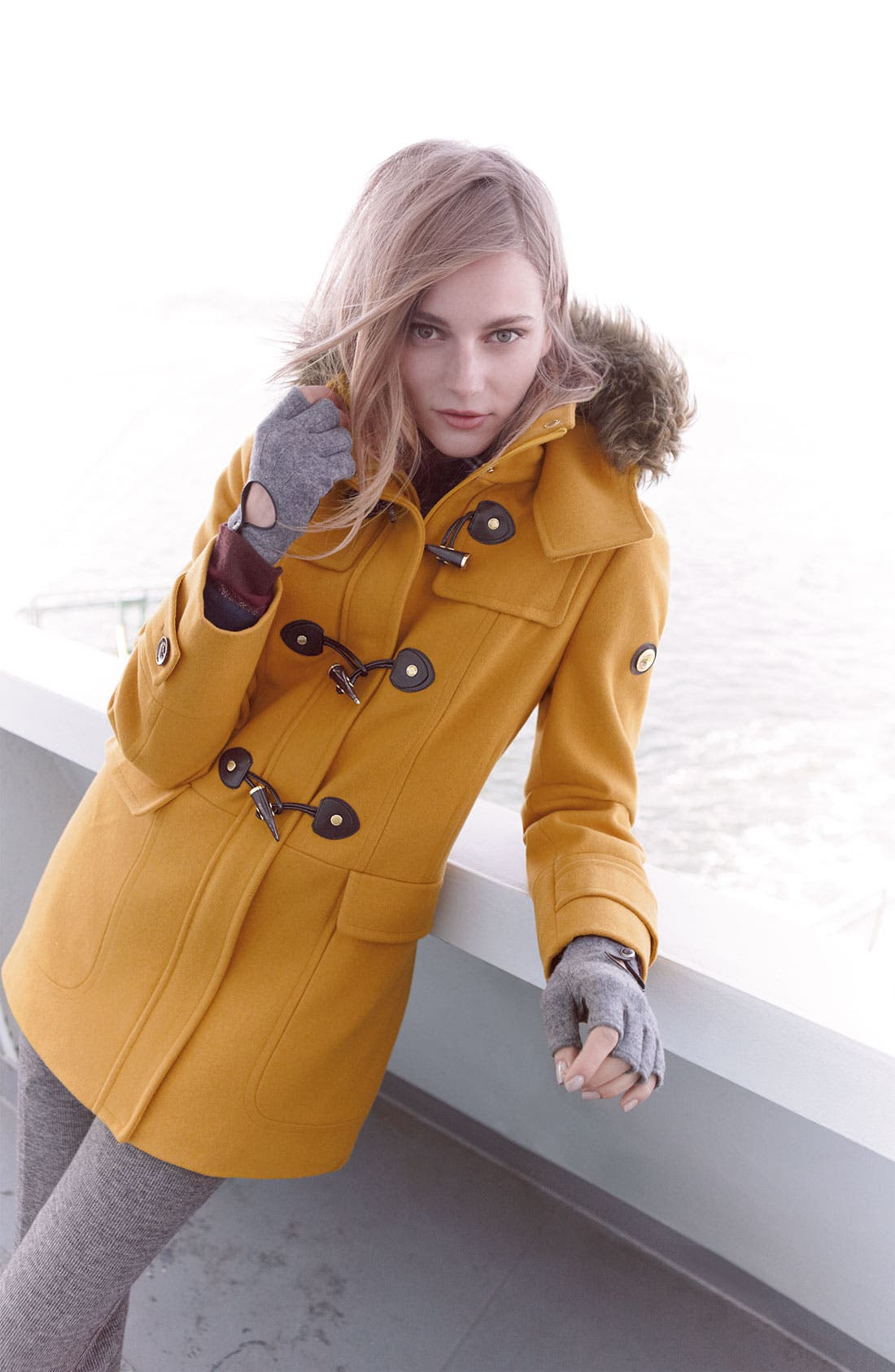 Alternate Image 4  - Calvin Klein Faux Fur Trim Duffle Coat
