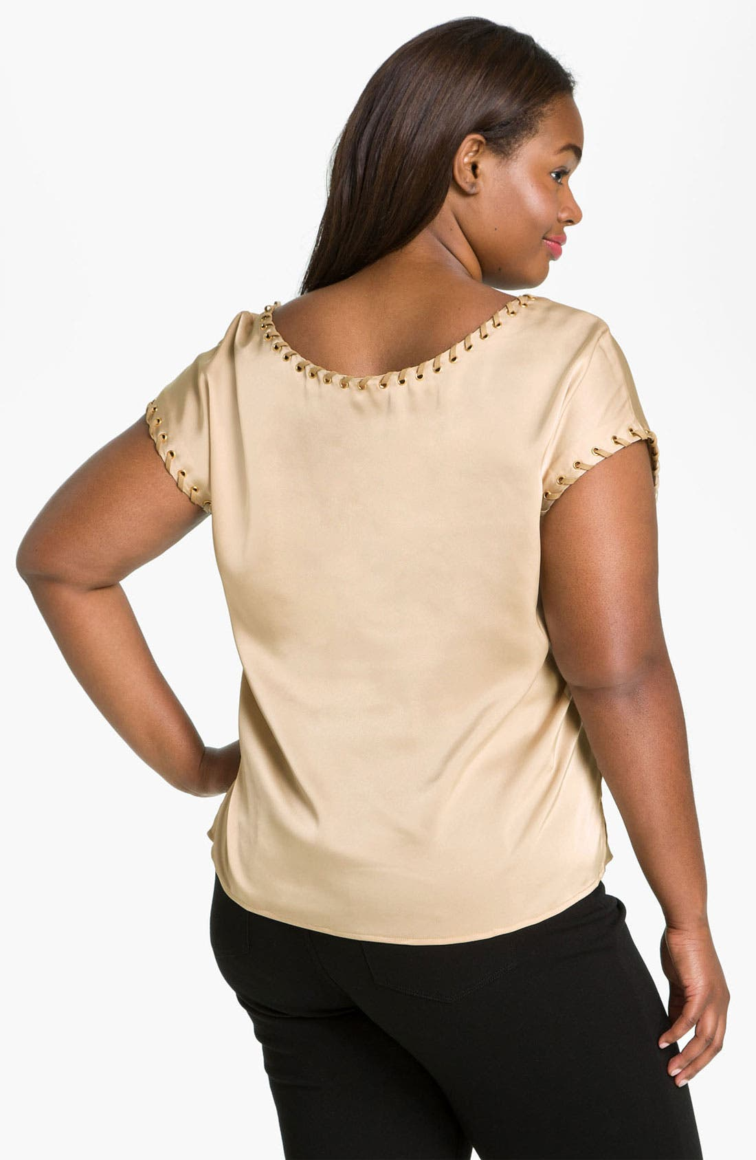 Alternate Image 2  - Vince Camuto Grommet Trim Top (Plus)