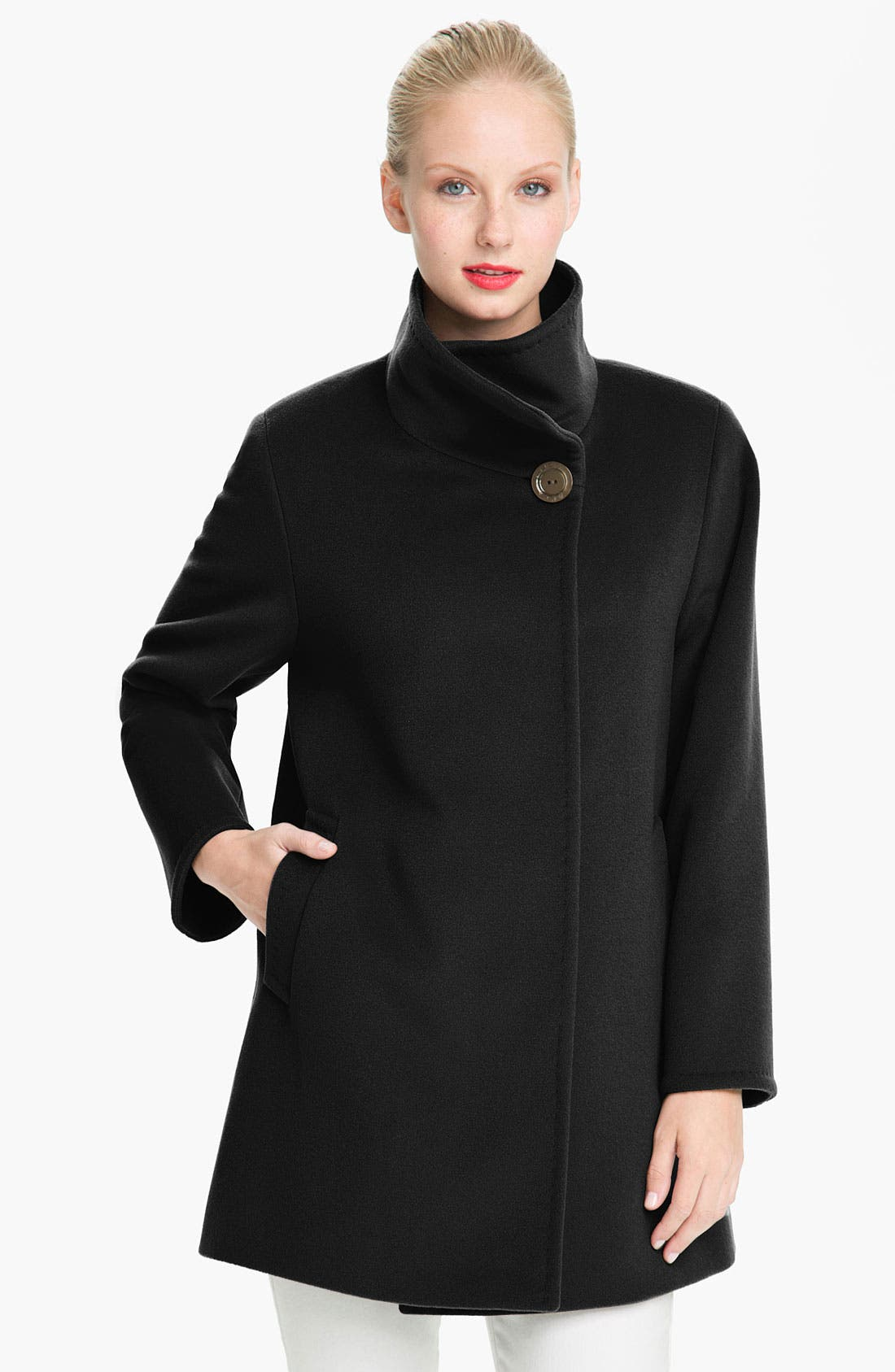Main Image - Cinzia Rocca Funnel Neck Wool Coat (Petite)