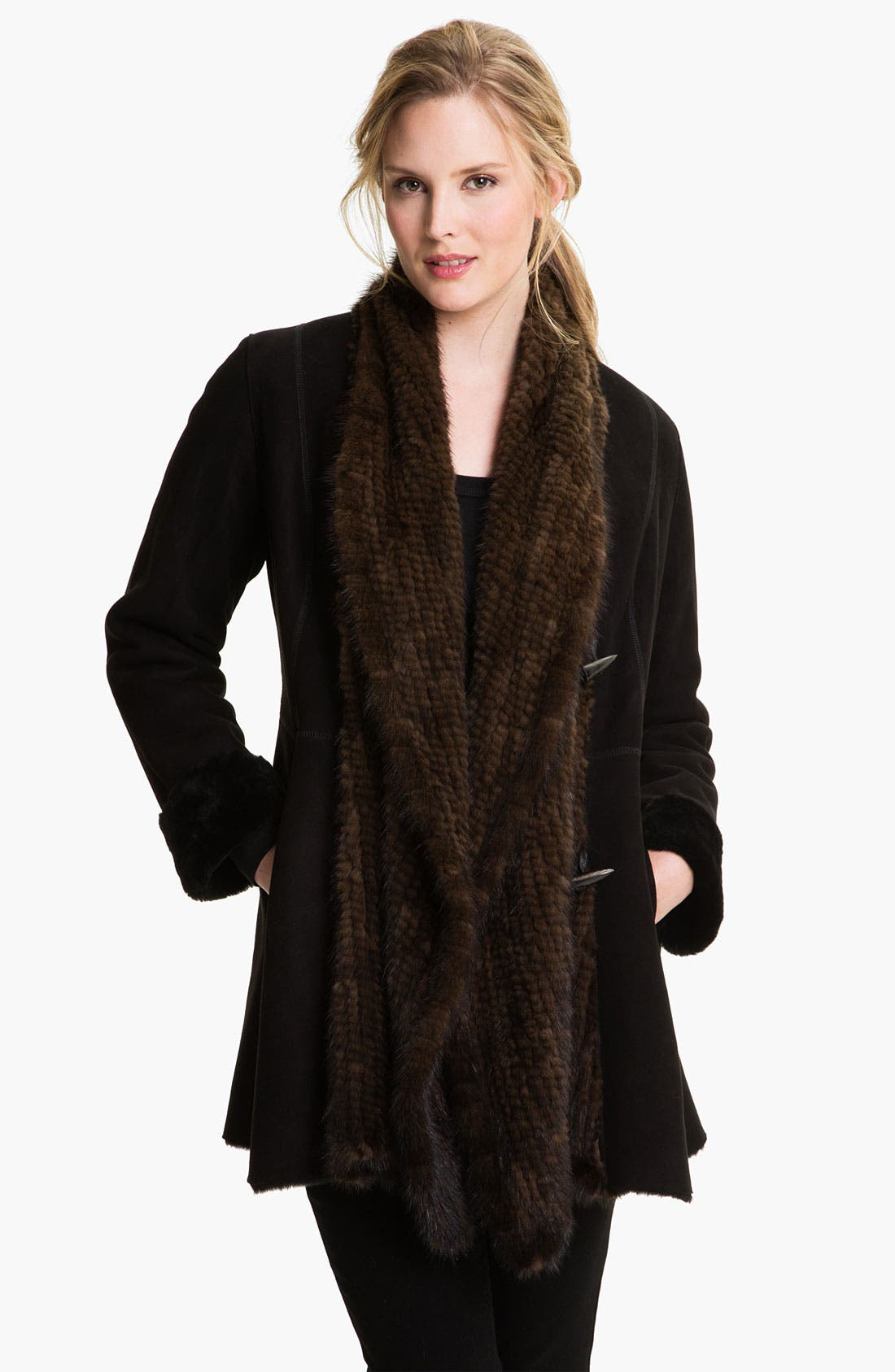Main Image - HIDESOCIETY Genuine Shearling Coat with Genuine Mink Trim