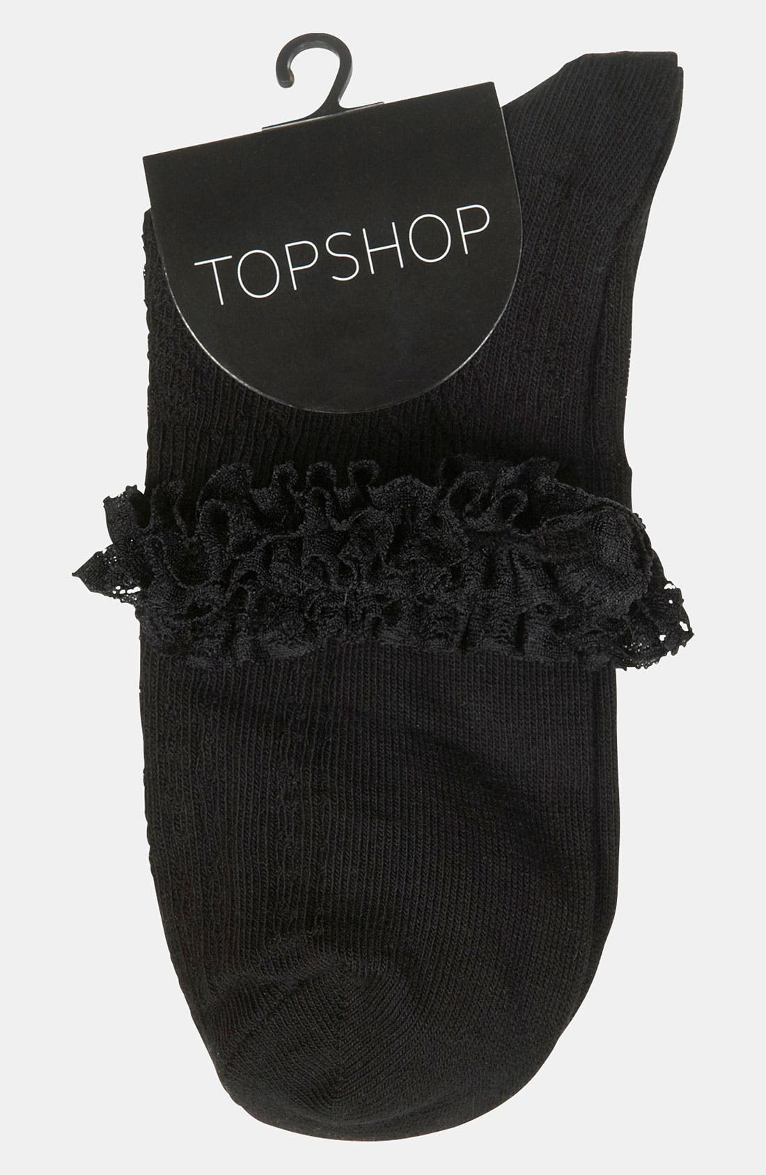 Alternate Image 2  - TOPSHOP Lace Trim Ankle Socks