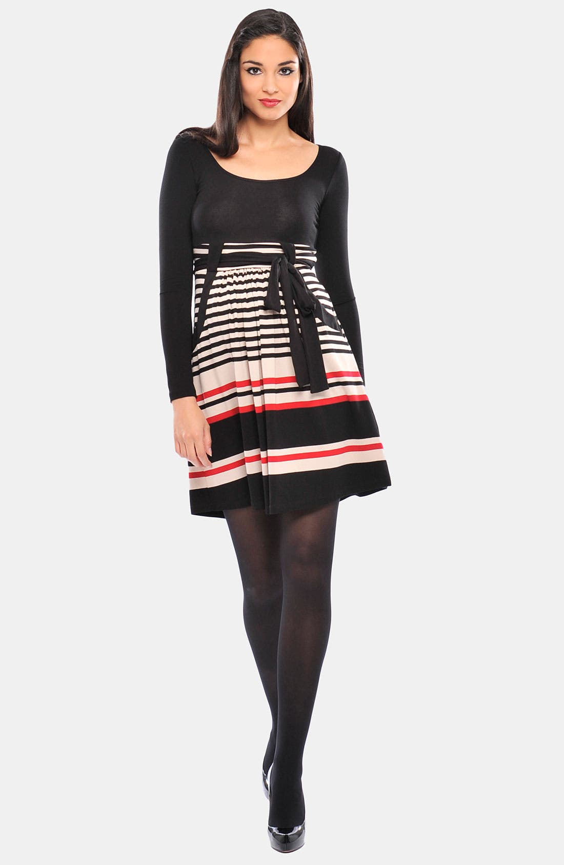 Alternate Image 1 Selected - Olian 'Kayla' Stripe Cross Front Maternity Tunic