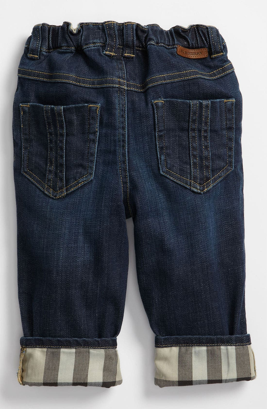 Main Image - Burberry Check Lined Jeans (Baby)