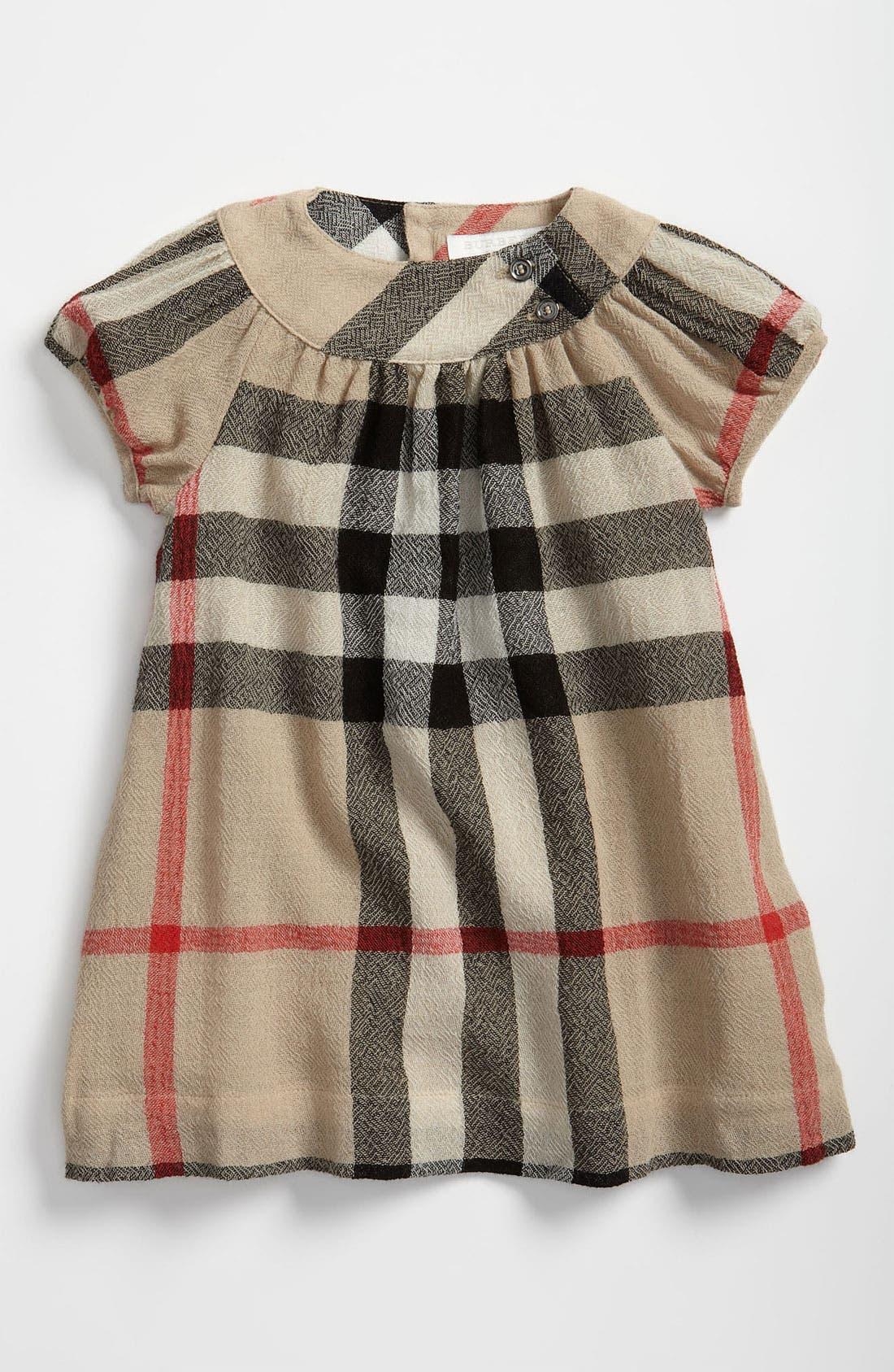 Main Image - Burberry Check Print Dress (Infant)