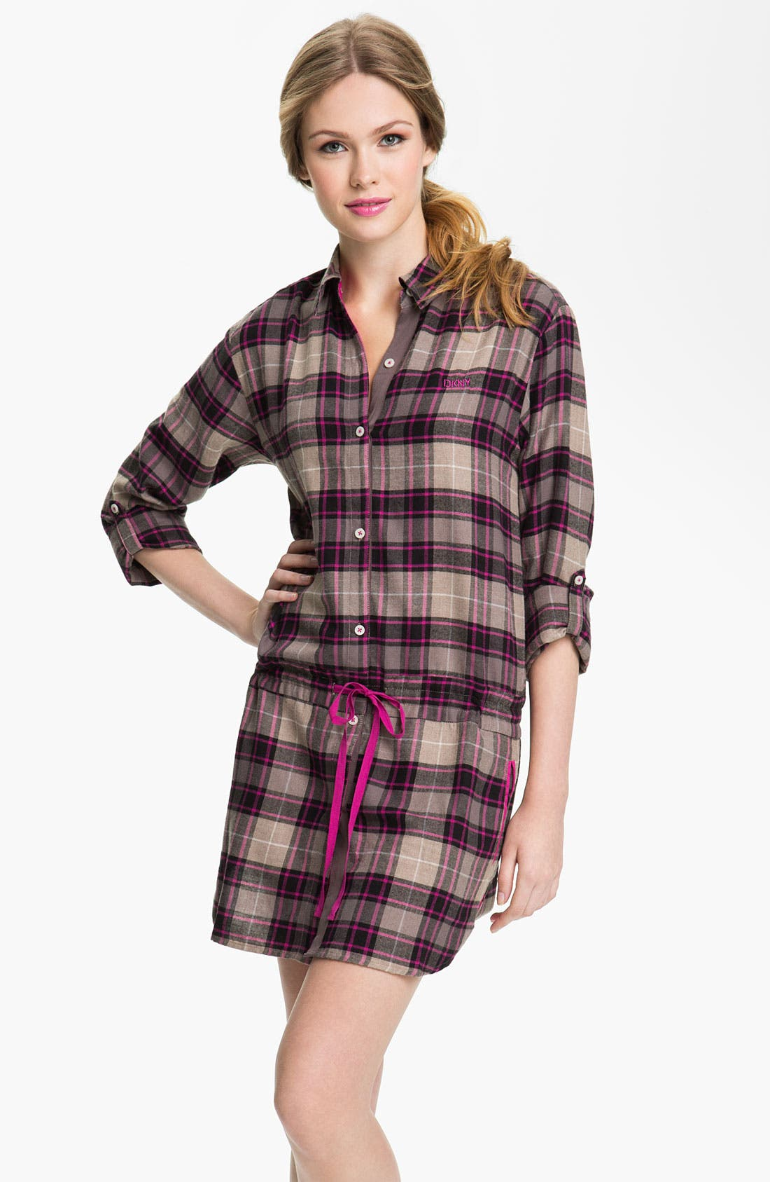 Alternate Image 1 Selected - DKNY 'Man's World' Flannel Nightshirt