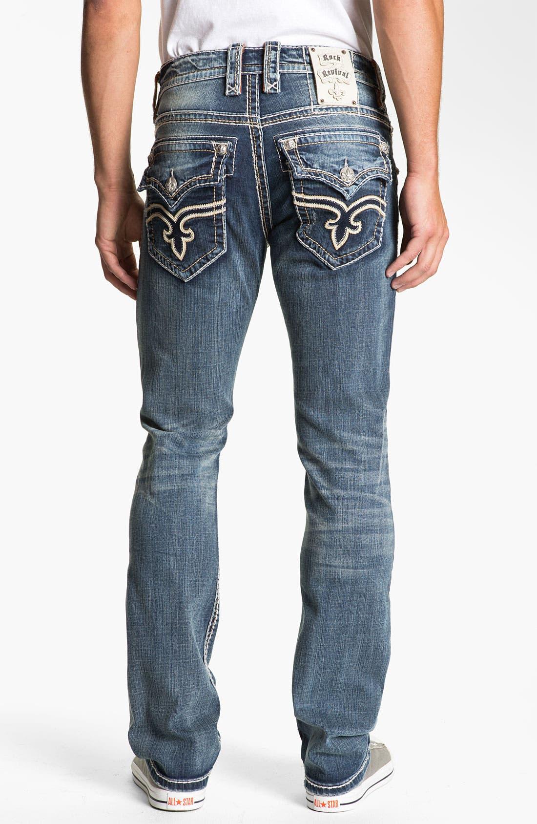 Alternate Image 1 Selected - Rock Revival 'Tony' Straight Leg Jeans (Dark Blue)