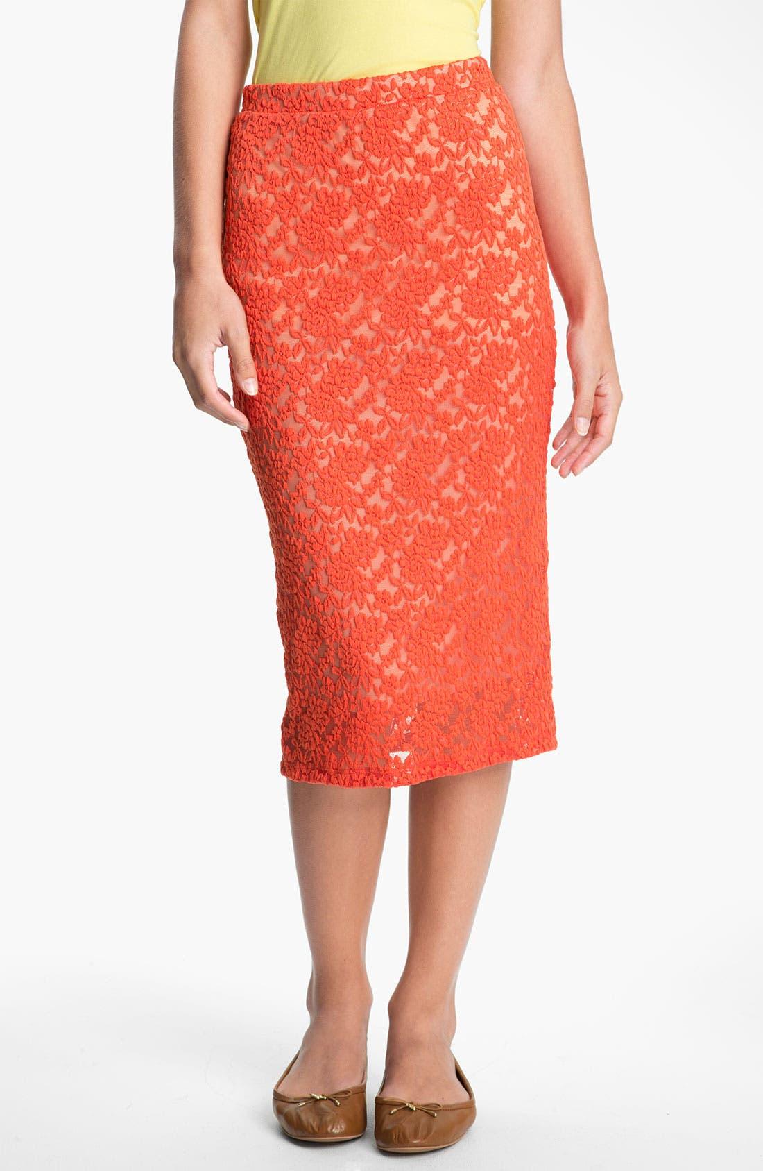 Alternate Image 1 Selected - h.i.p. Lace Midi Skirt (Juniors)