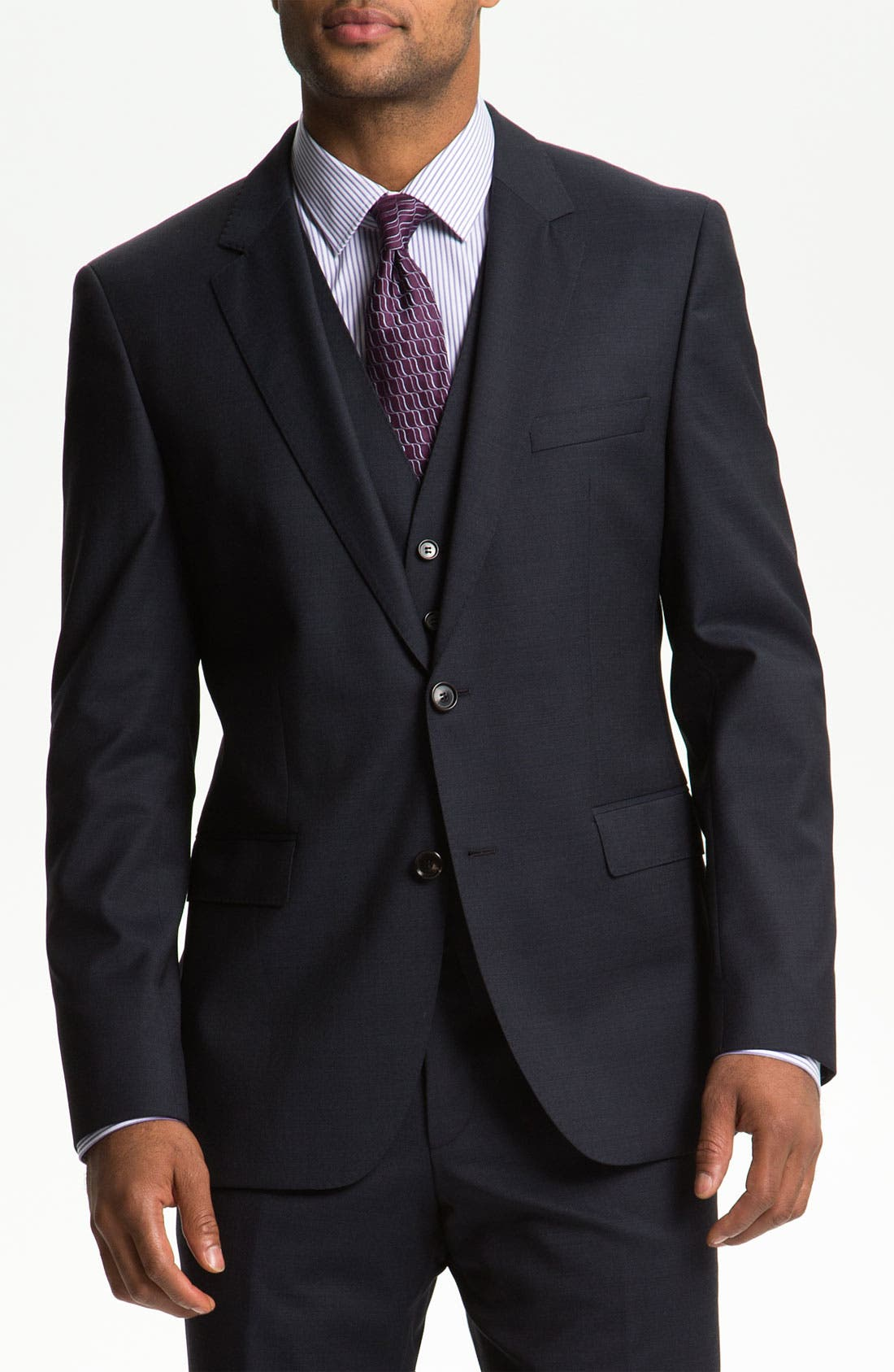 Alternate Image 1 Selected - BOSS Black 'James/Sharp' Trim Fit Three Piece Suit