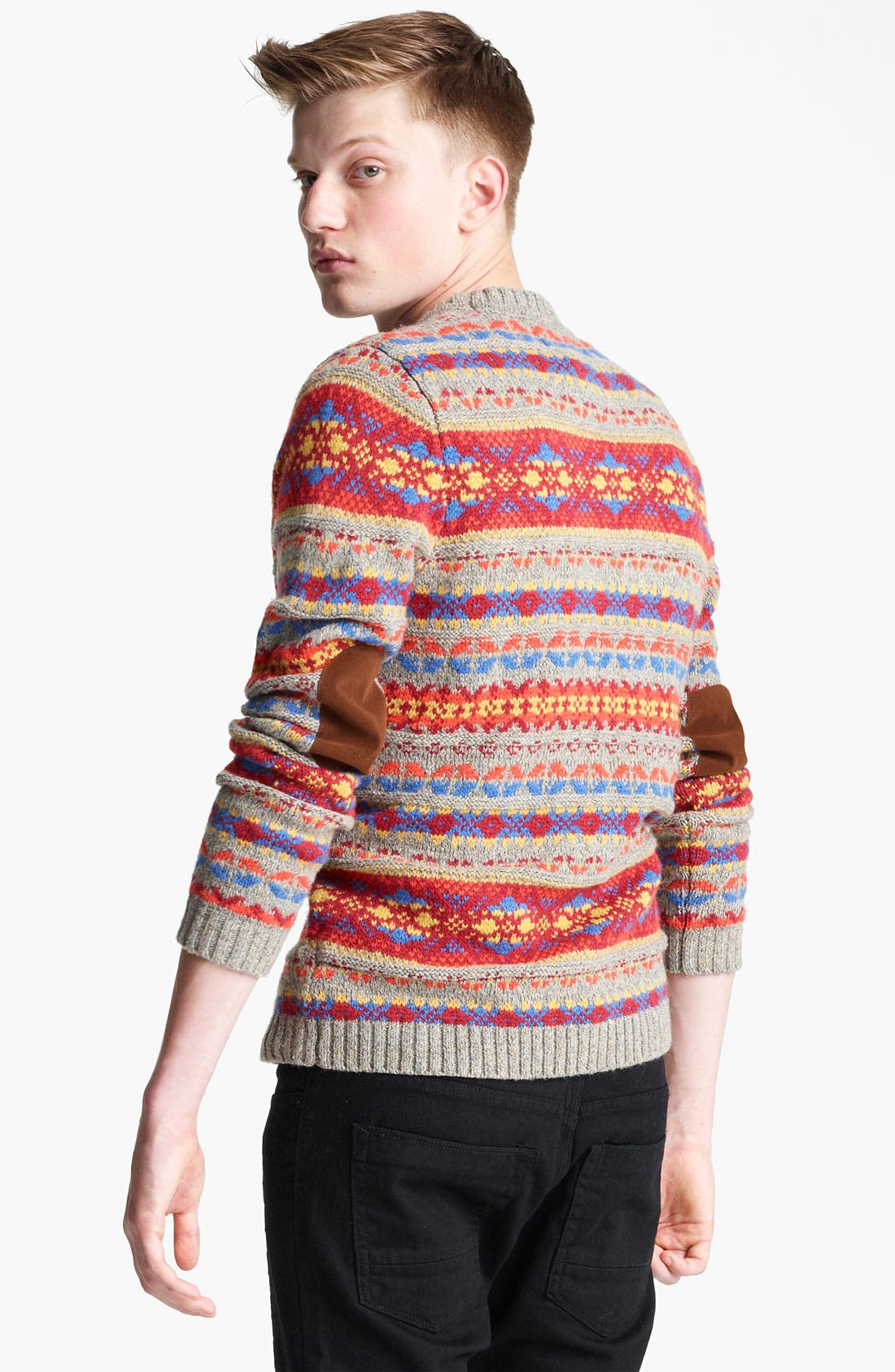 Alternate Image 2  - Topman Fair Isle Crewneck Sweater with Elbow Patches