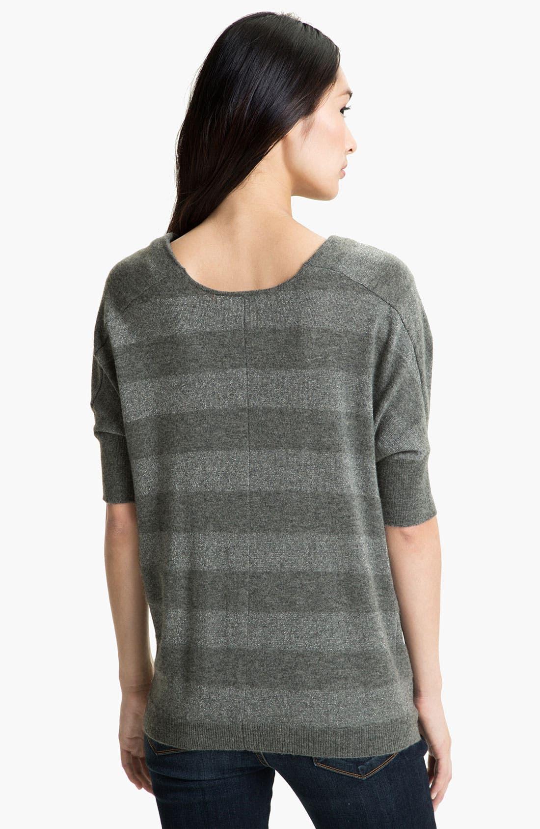 Alternate Image 2  - Nordstrom Collection Shimmer Stripe Cashmere Blend Sweater