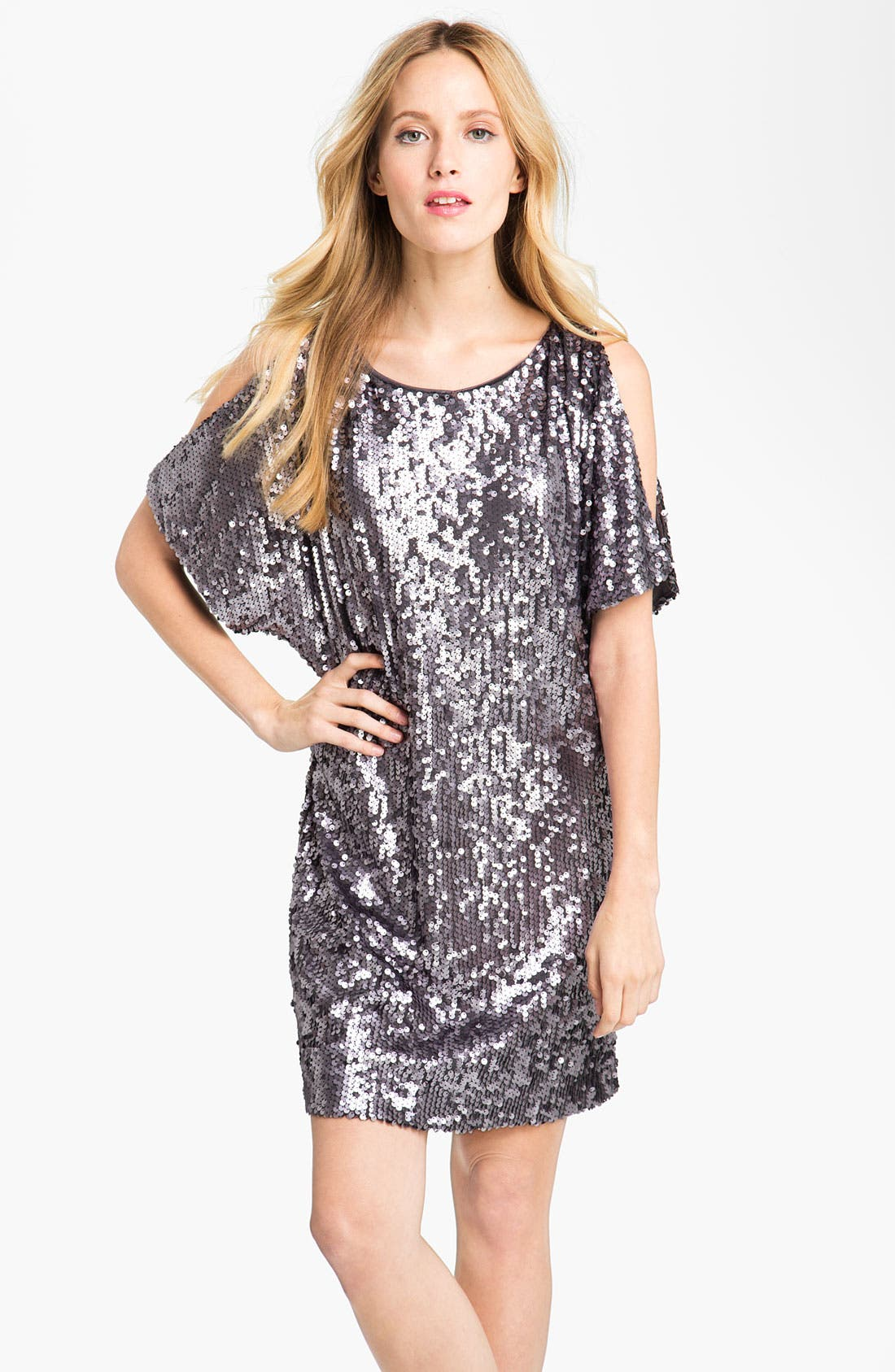 Main Image - Aidan Mattox Sequin Cold Shoulder Shift Dress