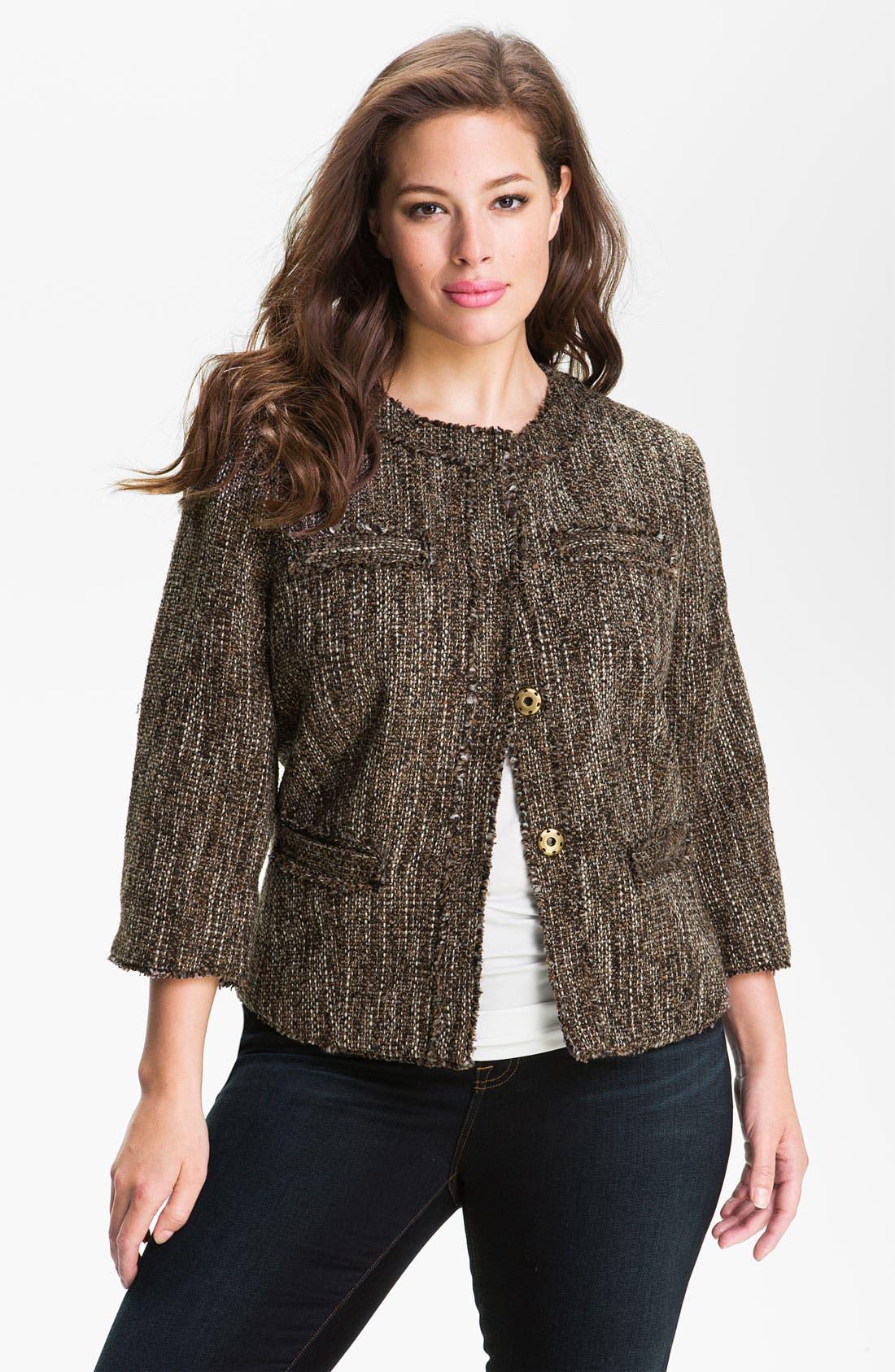 Alternate Image 1 Selected - MICHAEL Michael Kors 'Westport' Tweed Jacket (Plus)