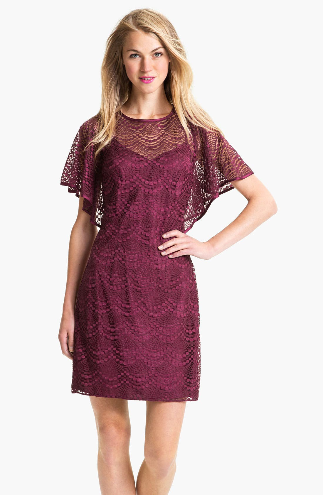 Main Image - Adrianna Papell Batwing Lace Overlay Dress