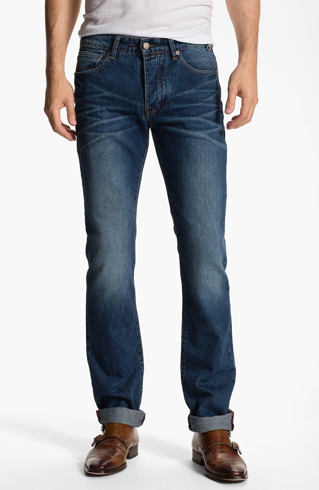 Main Image - Ted Baker London 'Slystee' Straight Leg Jeans (Light)