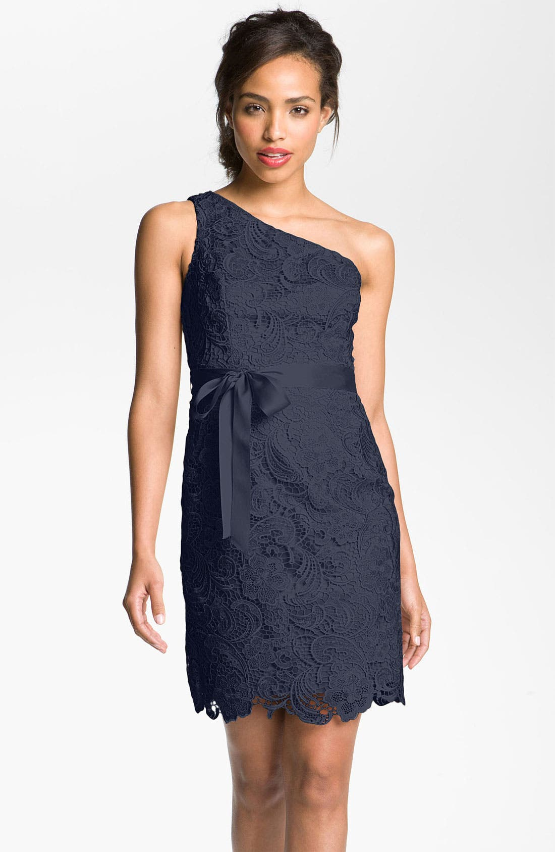 Alternate Image 1 Selected - Adrianna Papell Lace One Shoulder Sheath Dress