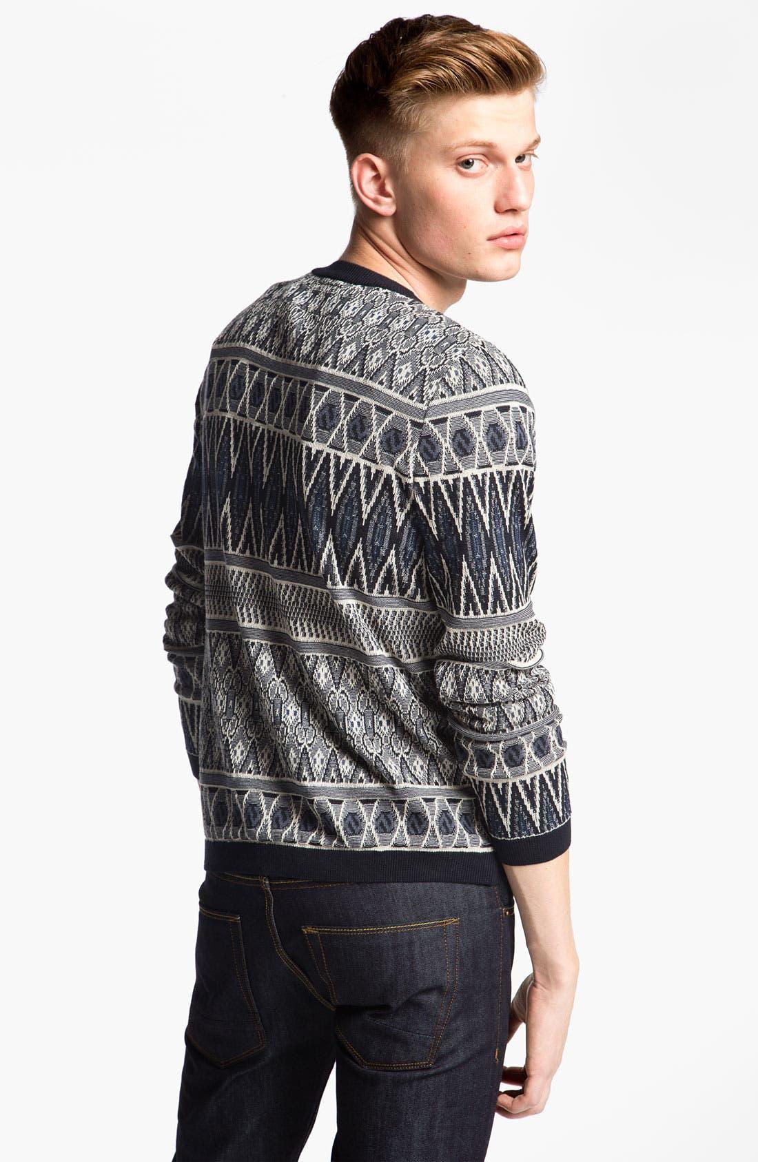 Alternate Image 2  - Topman Tapestry Print Knit Crewneck Sweater