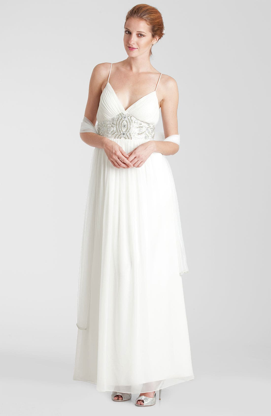 Alternate Image 1 Selected - JS Collections Embellished Waist Chiffon Gown