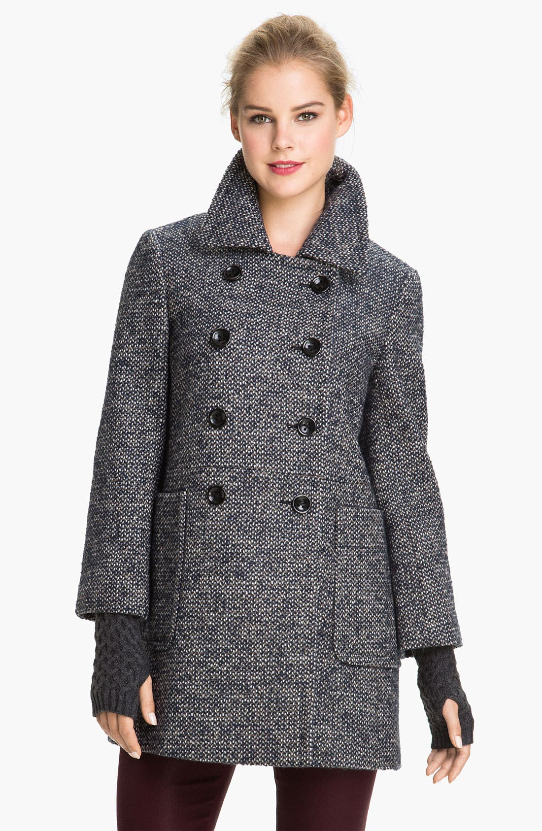 Main Image - Calvin Klein Double Breasted Tweed Coat