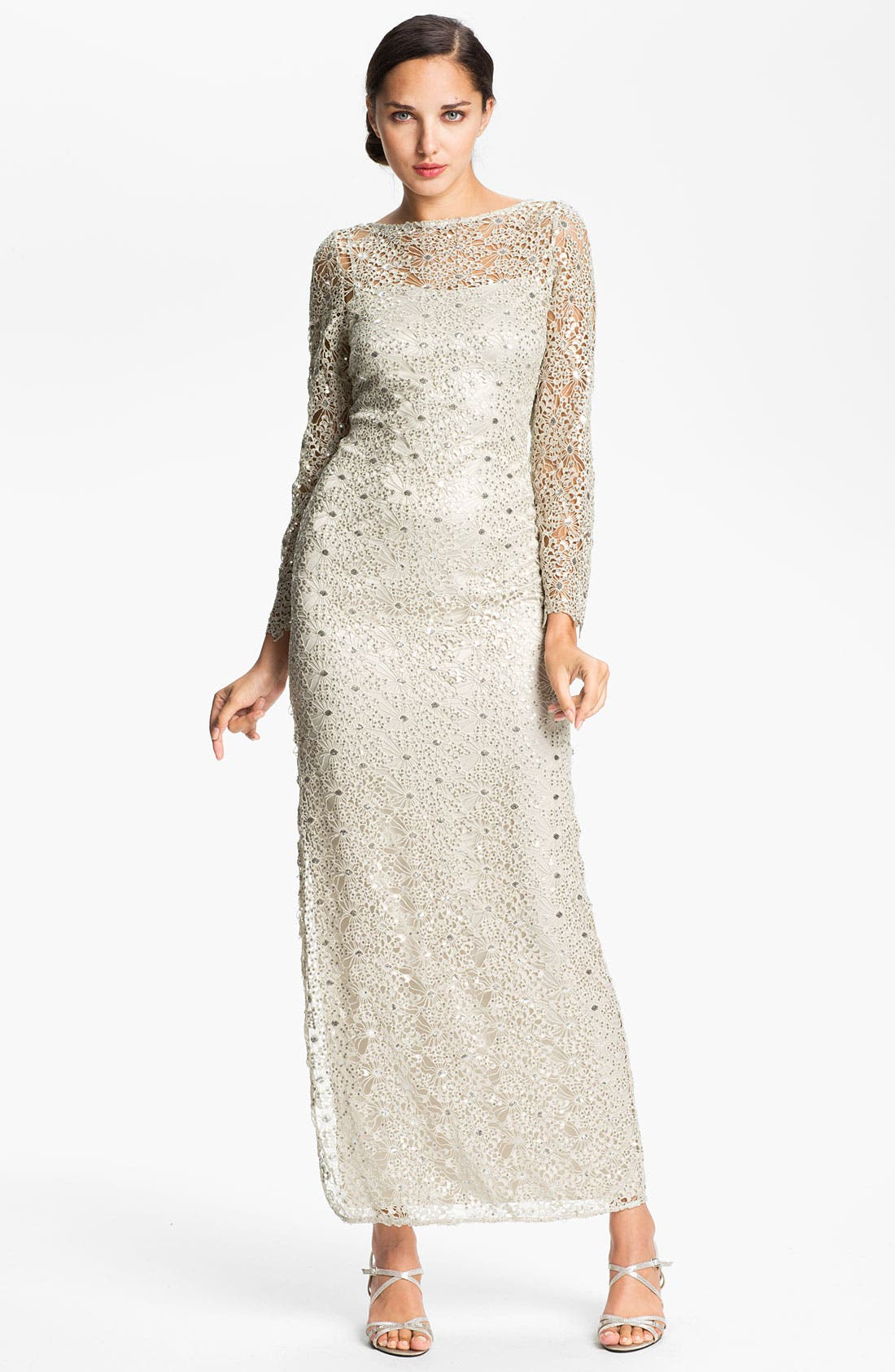 Alternate Image 1 Selected - Kay Unger Open Back Metallic Lace Gown