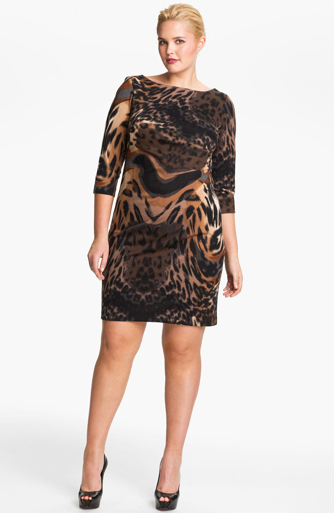 Alternate Image 1 Selected - Jessica Simpson Side Pleat Ponte Knit Sheath Dress (Plus)