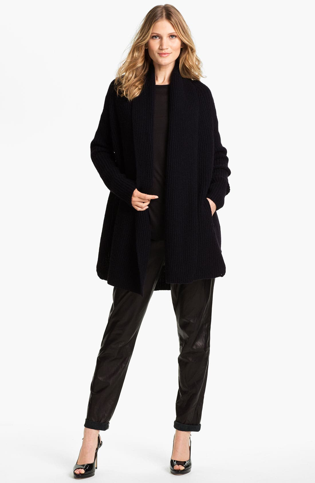 Main Image - Vince Cardigan & Leather Pants