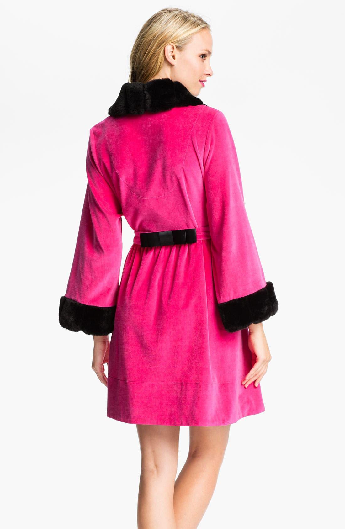 Alternate Image 2  - Betsey Johnson Faux Fur Trim Velour Robe