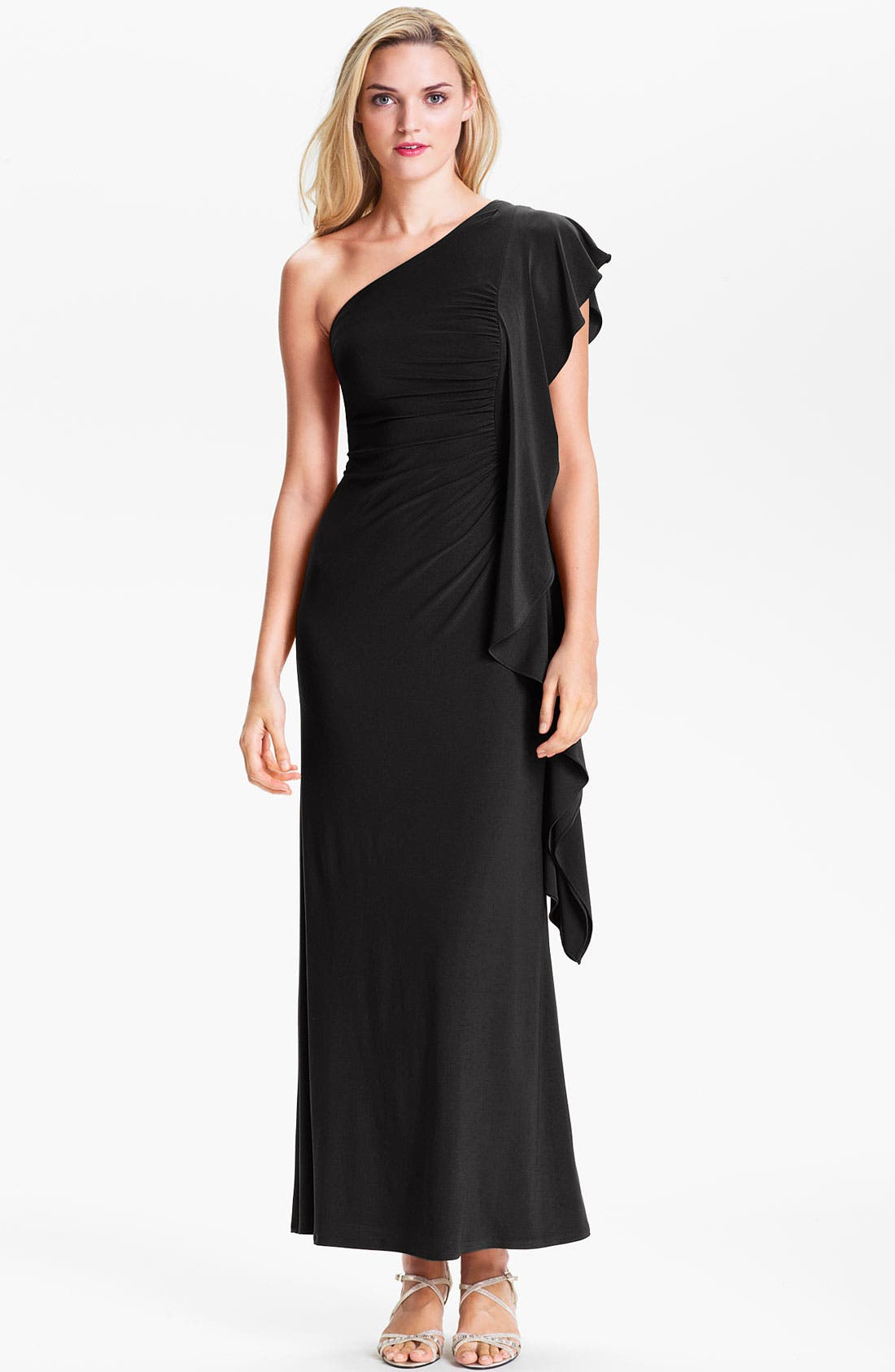 Main Image - ABS by Allen Schwartz Ruched One Flutter Sleeve Gown